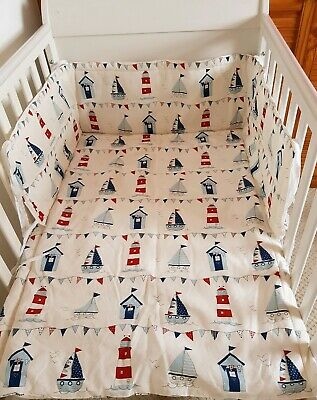 Nautical Beach Seaside Cot / Cot Bed Bedding Set • 19.99£
