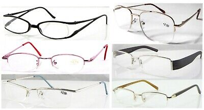 Various Semi-Rimless Reading Glasses/Metal Or Plastic Frame Specs/Mens Or Womens • 2.99£
