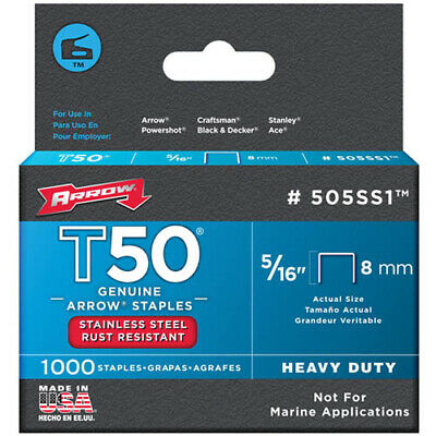 Arrow T50 5/16  - 8mm Stainless Steel Staples Pack Of 1000 • 10.16£