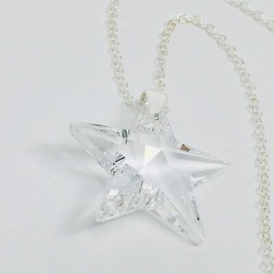 Made With Swarovski® Crystals Necklace Pendant Star Jewellery Clear 925 Silver • 12.99£