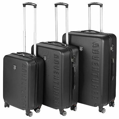 Adventurer 3 Piece Luggage Suitcase Set Lightweight 4 Wheel ABS Hard Shell Black • 69.99£