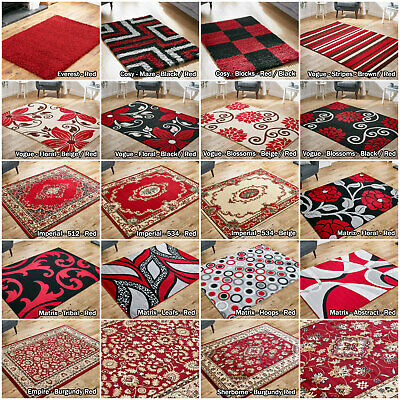 Low Price Red Large Classic Modern Shaggy Flat Sale Soft Area Rug Hallway Runner • 60.92£