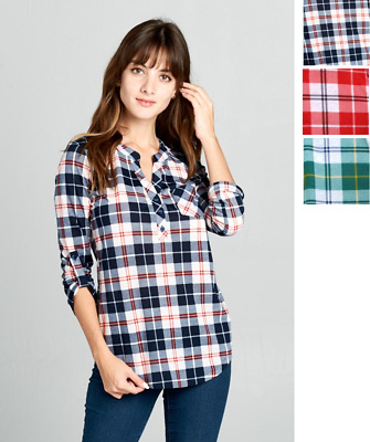 $8.99 • Buy Womens Plaid Check Button V-Neck 3/4 Sleeve Henley Top Tee Shirt Office USA