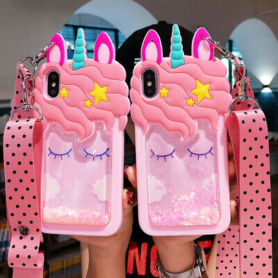 AU7.99 • Buy 3D Cartoon Dynamic Glitter Quicksand Unicorn Strap Case Cover For Various Phone