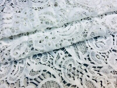 Scalloped Edge Lace Fabric French Floral Paisley Bride Material 120cm Wide IVORY • 6.99£