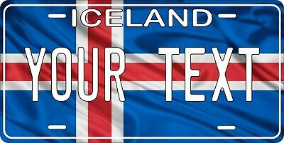 Iceland Flag Wave License Plate Personalized Car Auto Bike Motorcycle Custom • 12.09£