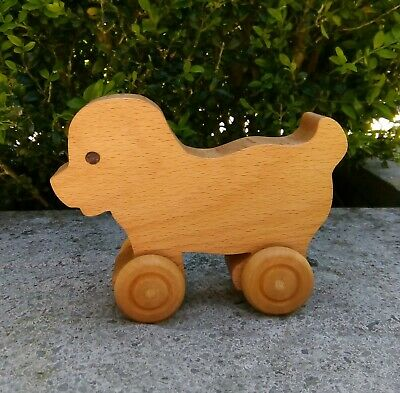 Handmade Traditional Wooden Toy Push-a-long Dog • 7£