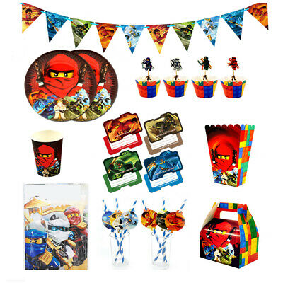 Ninjago Kids Birthday Party Paper 12 Plate 12 Cup Tableware Decorations • 2.99£