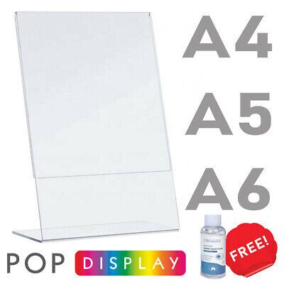 Menu Holder, Display Stands, Lean Back, A4 A5 A6, Crystal Clear. GREAT PRICE! • 15.60£