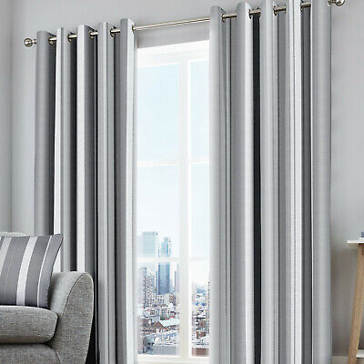 Whitworth Stripe Grey Eyelet Ring Top Curtains. 100% Cotton. Choice Of Sizes • 19.99£