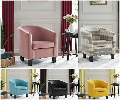 £114.99 • Buy Modern Tub Chair Faux Leather Fabric Velvet Armchair Occasional Accent Chair