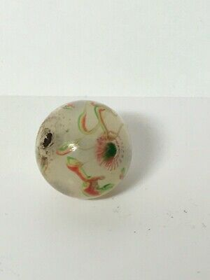 $29.99 • Buy Antique Chinese Boshan Millefiori Glass Bead Milky White With Red & Green Mosaic