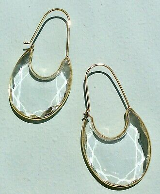 $ CDN52.58 • Buy New Adorable! Anthropologie Rounded Crescent Hoop Earrings Clear Stone