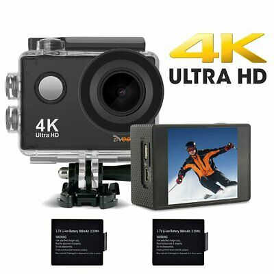 DveeTech Action Camera,4K 16MP Built-in WiFi Underwater Photography Sports • 30£