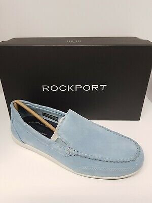Rockport VENETIAN Mens Slip On Real Suede Leather Casual Shoes Loafers Blue • 35£