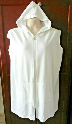 $10.99 • Buy SUN CASUALS White Hooded Zipper Front Swimsuit Cover Up Sz 1X