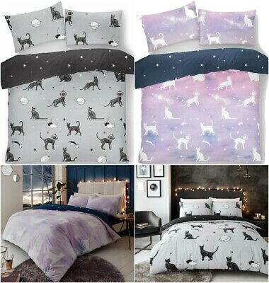 Luxury Astro Cat Pattern Duvet Cover Sets Single Double King Size Bedding Sets • 13.99£