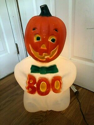 $49.99 • Buy  Vintage Halloween TPI Blow-mold Pumpkin Head Boo Ghost, Rare Made In Canada