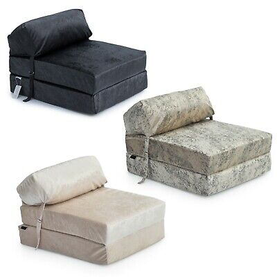 £39.97 • Buy Crushed Velvet Single Chair Bed Sofa Zbed Mattress Seat Foam Fold Out Guest