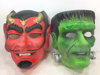 $ CDN39.99 • Buy Vintage Halloween Mask Devil Frankenstein Lot Vacuum Formed Adult Size Costume