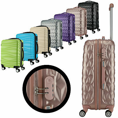 Large 28  4 Wheel ABS Hard Shell Checked Check In Hold Lugagge Suitcase UK • 42.99£