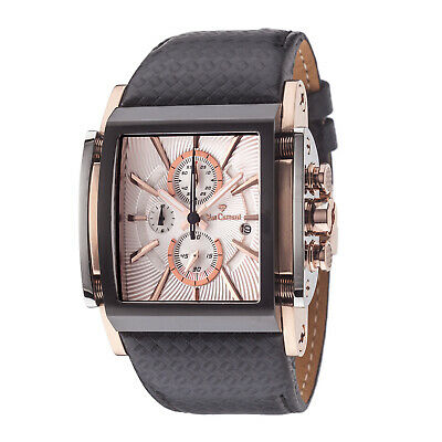 YVES Camani Escaut Mens Watch Rosegold Plated Chronograph Leather Strap New • 149£