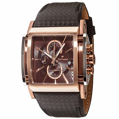 YVES Camani ESCAUT Mens Watch Rosegold Plated Chronograph Leather Strap New • 179£