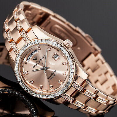 YVES CAMANI Auron Ladies Watch Stainless Steel Rosegold Plated Day & Date New • 89£