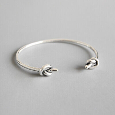 Ladies 925 Sterling Silver Knot Torque Bangle Gift UK • 24.95£