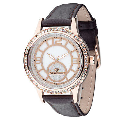 Yves Camani Rouen Womens Watch Stainless Steel Rosegold Brown Leather Strap New • 69£