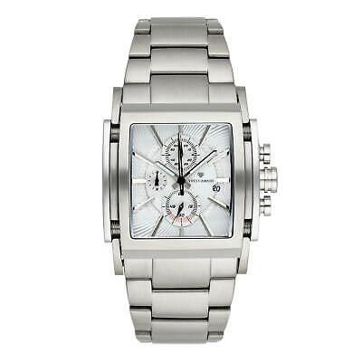YVES CAMANI ESCAUT Mens Wrist Watch Silver Chronograph Stainless Steel Strap New • 139£