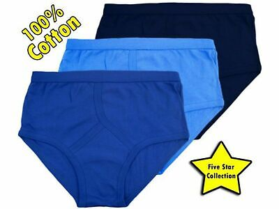 3 Mens Y Fronts 100% Cotton Interlock Briefs Underwear / Blue / S M L XL XXL • 4.90£