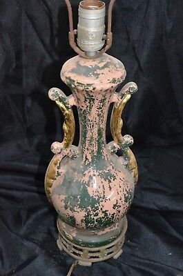 $75 • Buy  Table Lamp Light Antique Distressed Pink Green Gold Gothic Creepy Vintage Prop
