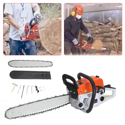"View Details 52cc 20"" Heavy Duty Petrol Chainsaw Two-Stroke Petrol Engine Tree Wood Pruning • 61.99£"