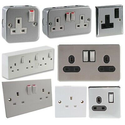 £9.99 • Buy 13A Wall Plate Plug Socket Switched Single Double 1 2 Gang White Chrome Silver