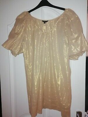 £7.50 • Buy TK Max Ladies Top Gold Shimmery Size  L  Cotton, Good Condition, Worn Once