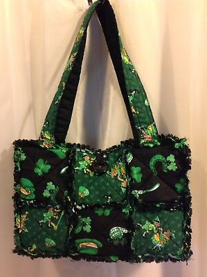 $29.99 • Buy Dancing Leprechauns IRISH SHAMROCK St. Patty's Day RAG QUILT PURSE Hand Bag