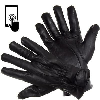 £6.25 • Buy Mens Touch Screen Gloves 100% Genuine Leather Thermal Lined Winter Driving Glove