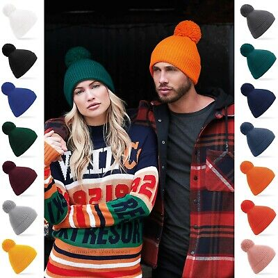 £8.79 • Buy Cable Knit Beanie Hat Winter Warm Ribbed Knitted Turn Up Bobble Ski Mens Womens
