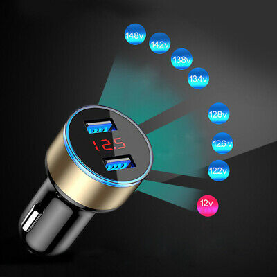Dual Ports 3.1A USB 12V/24V Car Cigare*te Charger Lighter Digital LED Voltmeter • 2.88£