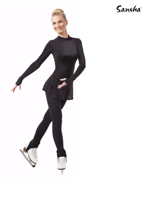 Black Sansha T101 Stirrup Ice Skating Tights - Size Adult S/M • 8£
