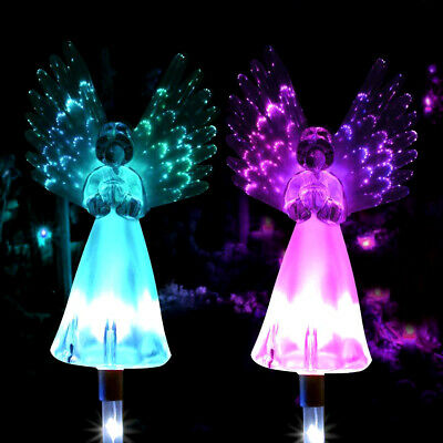 2pcs LED Solar Power Garden Lights Angel Stake Outdoor Path Luminous Lamps Wings • 10.99£