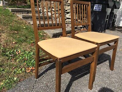 $89.95 • Buy STAKMORE Wooden Folding Spindle Back Chairs ~ (2)~ Nice & Clean! ~ BEAUTIES !