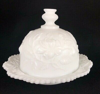 $34.99 • Buy Vintage Imperial White Milk Glass Rose Motif Covered Cheese Butter Dish