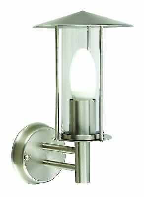 Modern Brushed Stainless Steel Outdoor Garden Wall Light Lantern IP44 Rated • 14.99£