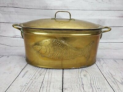 $149.99 • Buy Vintage Rare Hammered Brass Fish Poacher With Fish Design