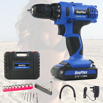 View Details 21v Cordless Combi Drill Driver Electric Battery Power Screwdriver With Bits Set • 39.80$