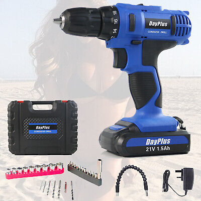 View Details 21v Cordless Combi Drill Driver Electric Battery Power Screwdriver With Bits Set • 39.90$