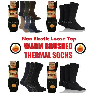 Mens None Elastic Brushed Warm Thermal Socks, Can Use For Diabetic Fit Size 6-11 • 5.99£