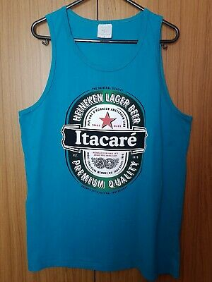 Heineken Itacare Beer Men's Aqua Blue Vest Top With Slogan Graphic Vintage Sz M • 14.99£